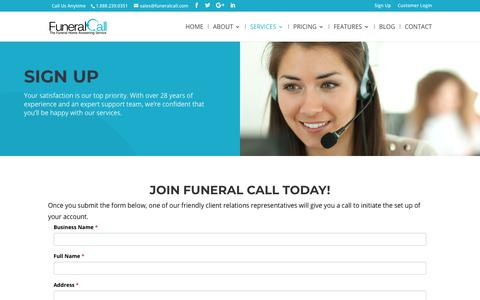 Screenshot of Signup Page funeralcall.com - Sign Up | FuneralCall | Nationwide Answering Service for Funeral Homes - captured Nov. 14, 2018