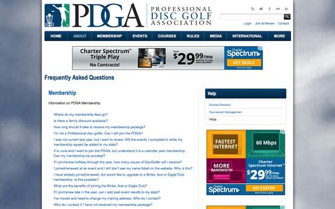 Screenshot of FAQ Page pdga.com - Frequently Asked Questions | Professional Disc Golf Association - captured Jan. 19, 2016