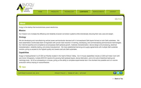 Screenshot of About Page avogy.com - About - Avogy, Inc. – Advancing Energy Efficiency - captured Oct. 4, 2014