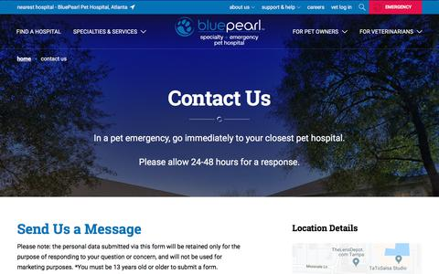 Screenshot of Contact Page bluepearlvet.com - Contact Us | BluePearl Pet Hospital - captured Oct. 21, 2019
