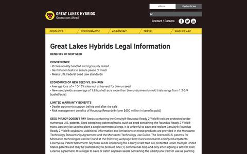 Screenshot of Terms Page greatlakeshybrids.com - Legal - captured May 23, 2017