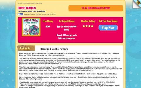 Screenshot of ohmybingo.com - Bingo Diaries | Free Spins on Popular Slots | Spin The Wheel - captured March 19, 2016