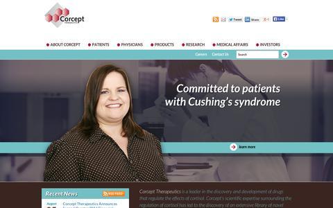 Screenshot of Home Page corcept.com - Corcept Therapeutics: Home - captured Sept. 12, 2014