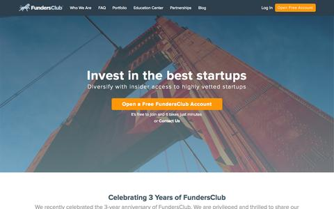 Screenshot of Home Page fundersclub.com - Invest in Startups Online, Startup Investing | FundersClub - captured Aug. 31, 2015