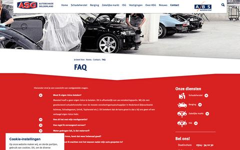 Screenshot of FAQ Page autoschadegelderland.nl - FAQ - ASG - Autoschade Gelderland - captured Oct. 2, 2018