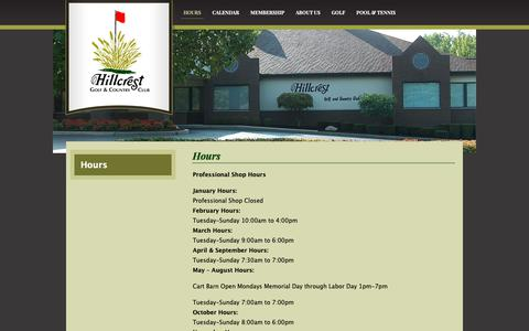 Screenshot of Hours Page hillcrest-gcc.com - Hours | Hillcrest Golf & Country Club - captured Sept. 28, 2018