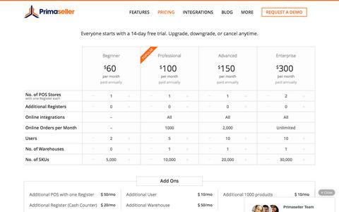 Screenshot of Pricing Page primaseller.com - Affordable Retail POS & eCommerce Software   Primaseller - captured July 15, 2016