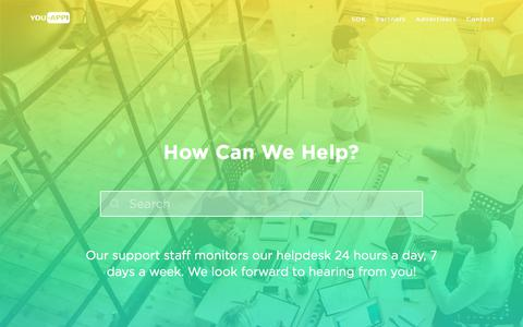 Screenshot of Support Page youappi.com - YouAppi Help Center – How can we help? - captured July 13, 2018