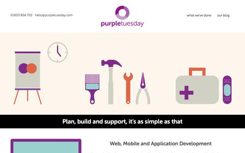 Screenshot of Home Page purpletuesday.com - Website, Software and App Development - Norwich, Norfolk UK - captured Oct. 3, 2014