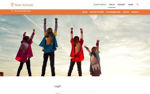 Screenshot of Login Page solarschools.net - Log In  - Solar Schools - captured Sept. 21, 2018