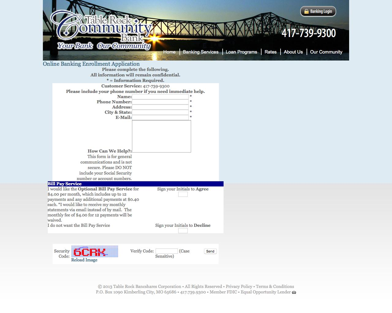 Web Design Example | A page on trcbank.com | Crayon on business application form, chase bank application form, bank check register form, sample bank statement form, bank information form, teacher application form, bank employment application form, bank loan application form,