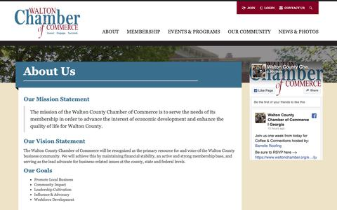 Screenshot of About Page waltonchamber.org - About Us | WCCC - Walton County Chamber of Commerce - captured May 30, 2019