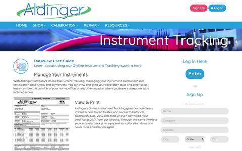 Screenshot of Signup Page aldingerco.com - Aldinger Co. Online Instrument Tracking - captured Nov. 12, 2018
