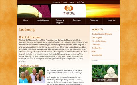Screenshot of Team Page metta.org - Metta Programs - Leadership - captured Oct. 27, 2014