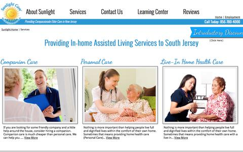 Screenshot of Services Page sunlightcare.com - Companion Care | Personal Care | Live-In Home Health Care in NJ - captured Sept. 23, 2018