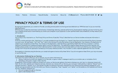 Screenshot of Terms Page ptpal.com - Legal | Pt Pal - captured July 12, 2018