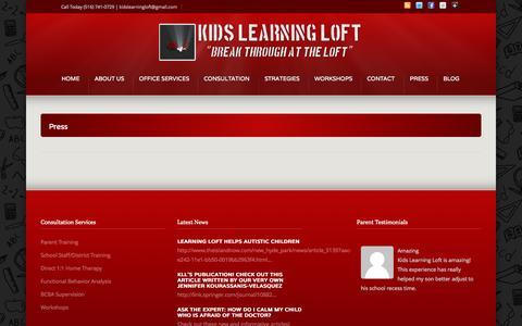 Screenshot of Press Page kidslearningloft.com - Press –  Kids Learning Loft - captured Sept. 30, 2014