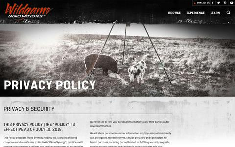Screenshot of Privacy Page wildgameinnovations.com - Privacy Policy | Wildgame Innovations - captured Oct. 18, 2018