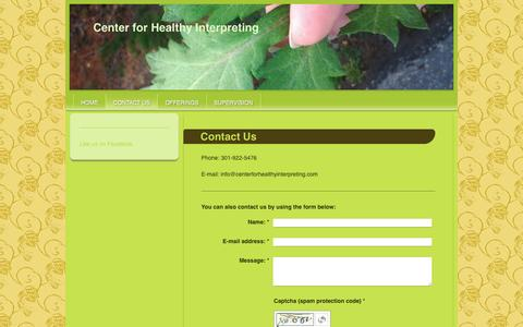 Screenshot of Contact Page centerforhealthyinterpreting.com - Center for HealthyInterpreting - Contact Us - captured May 15, 2017
