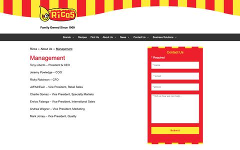 Screenshot of Team Page ricos.com - Ricos Products Management Team | Ricos - captured Oct. 18, 2018
