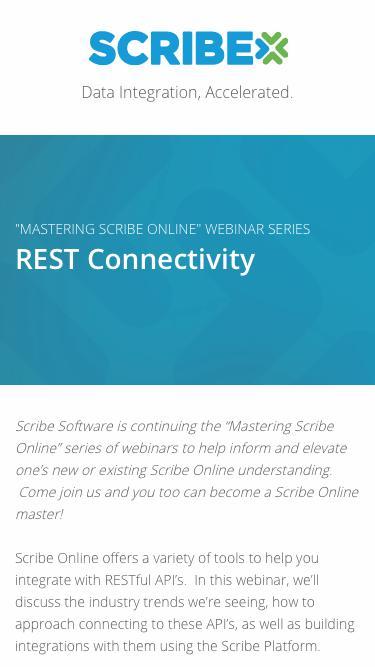 Registration   Webinar - Mastering Scribe Online: REST Connectivity   Scribe Software