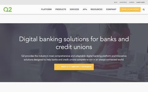 Screenshot of Home Page q2ebanking.com - Digital Banking Solutions for Banks and Credit Unions - captured May 20, 2018