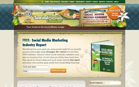 Screenshot of Home Page socialmediaexaminer.com - Social Media Examiner: Social media marketing how to, research, case studies, news and more!   Social Media Examiner - captured Aug. 3, 2015