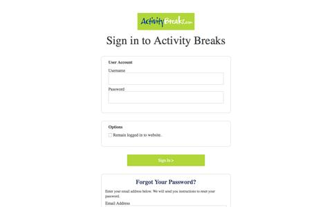 Screenshot of Login Page activitybreaks.com - Login | Activity Breaks - captured July 24, 2016