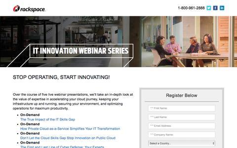 Screenshot of Landing Page rackspace.com - IT Innovation Webinar Series - captured May 22, 2018
