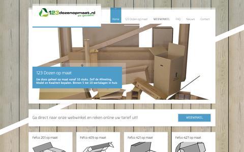 Screenshot of Home Page 123dozenopmaat.nl - 123 DOZEN OP MAAT - specialist in kartonnen dozen | Wij fabriceren geheel voor u ieder type doos op maat - captured June 20, 2015
