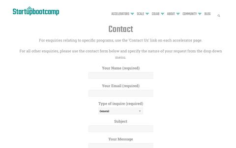Screenshot of Contact Page startupbootcamp.org - Contact - Startupbootcamp - captured Oct. 14, 2018