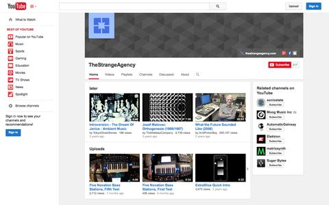 Screenshot of YouTube Page youtube.com - TheStrangeAgency  - YouTube - captured Oct. 26, 2014