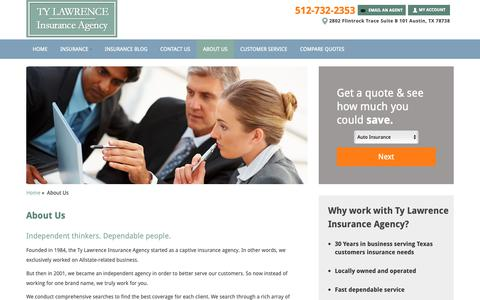 Screenshot of About Page tylawrenceinsurance.com - About Ty Lawrence Insurance Agency | 2802 Flintrock Trace Suite B 101 Austin, TX - captured Oct. 20, 2018