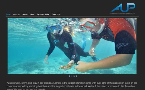Screenshot of Home Page aup.com.au - Australian Underwater Products - captured Oct. 4, 2014
