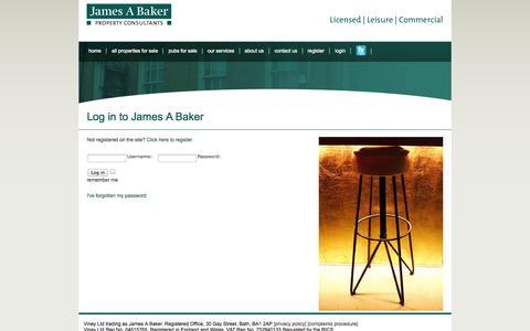 Screenshot of Login Page jamesabaker.co.uk - Pubs for sale, Leisure properties, Commercial buildings and Development opportunities. James A Baker, Bath, UK - captured Sept. 26, 2014