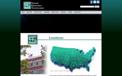 Screenshot of Locations Page sgt-inc.com - Stinger Ghaffarian Technologies - Achieving Results…Exceeding Expectations - captured Oct. 3, 2014