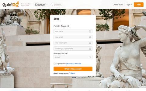 Screenshot of Signup Page guidigo.com - GuidiGO - Discover or create guided tours for iPhone and Android - captured Sept. 30, 2014
