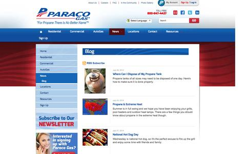 Screenshot of Blog paracogas.com - For Propane There Is No Better Name | Blog | Paraco Gas - captured Oct. 10, 2014