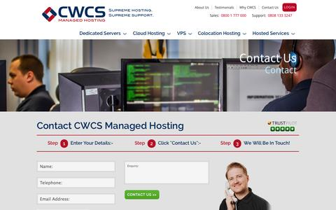 Screenshot of Contact Page cwcs.co.uk - Contact CWCS Managed Hosting - captured Sept. 19, 2014