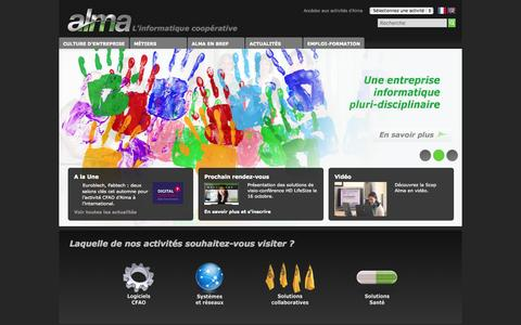 Screenshot of Home Page alma.fr - Alma, l'informatique coopérative - captured Oct. 4, 2014