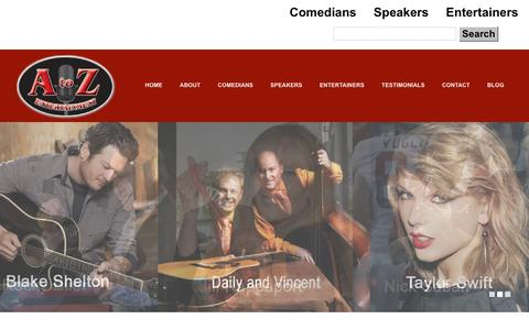 Screenshot of Home Page comediansandspeakers.com - Home   A to Z Entertainment Comedians Speakers Entertainers - captured Feb. 1, 2016