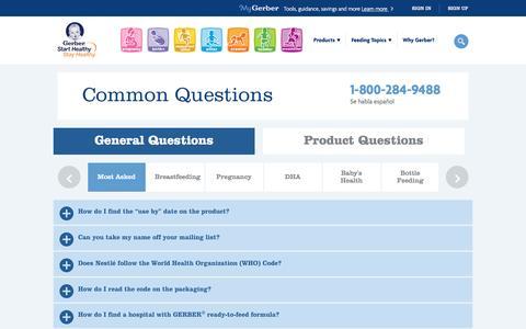 Screenshot of FAQ Page gerber.com - FAQs - captured Dec. 24, 2016