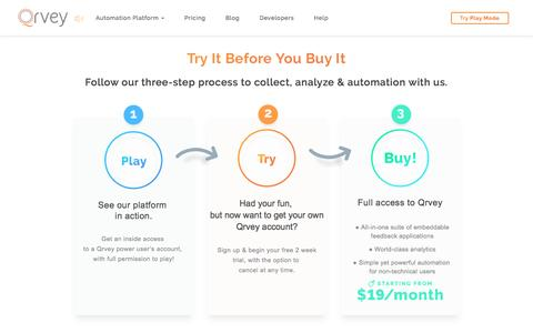 Screenshot of Pricing Page qrvey.com - Pricing | Qrvey Embeddable Full Cycle Feedback Platform - captured May 5, 2017