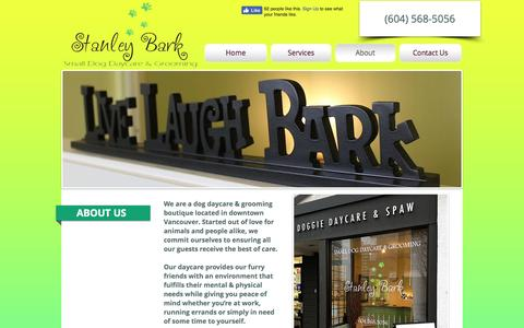 Screenshot of About Page stanleybark.com - Stanley Bark | Dog Daycare, Grooming and Boarding - captured Dec. 9, 2016