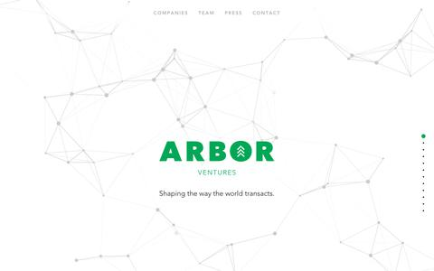 Screenshot of Home Page arborventures.com - Arbor Ventures | Shaping the way the world transacts - captured Nov. 6, 2018