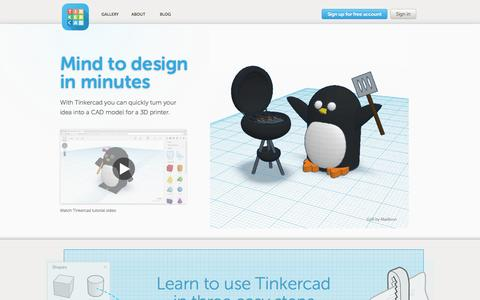 Screenshot of Home Page About Page Privacy Page Login Page Terms Page tinkercad.com - Tinkercad | Create 3D digital designs with online CAD - captured Sept. 17, 2014