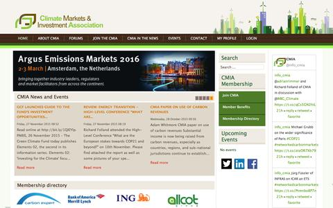 Screenshot of Home Page cmia.net - CMIA | Climate Markets & Investment Association - captured Jan. 29, 2016