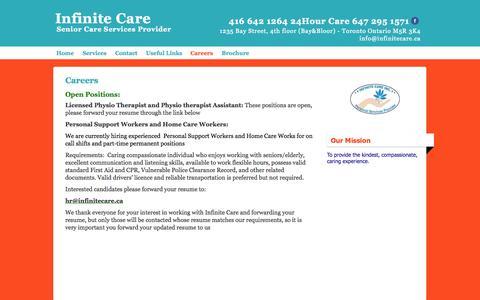 Screenshot of Jobs Page infinitecare.ca - Careers at Infinite Care - captured Oct. 4, 2014