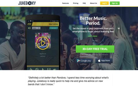 Screenshot of Home Page jukeboxy.com - Jukeboxy - captured Sept. 30, 2014
