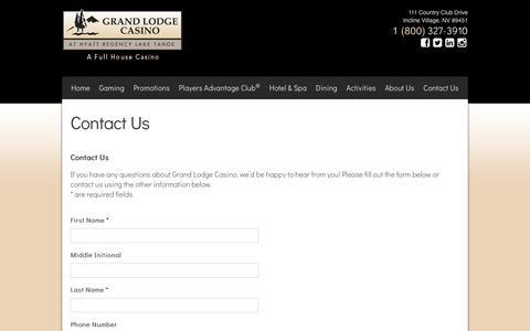 Screenshot of Contact Page grandlodgecasino.com - Grand Lodge Casino at Hyatt Regency Lake Tahoe - Contact Us - captured July 23, 2018